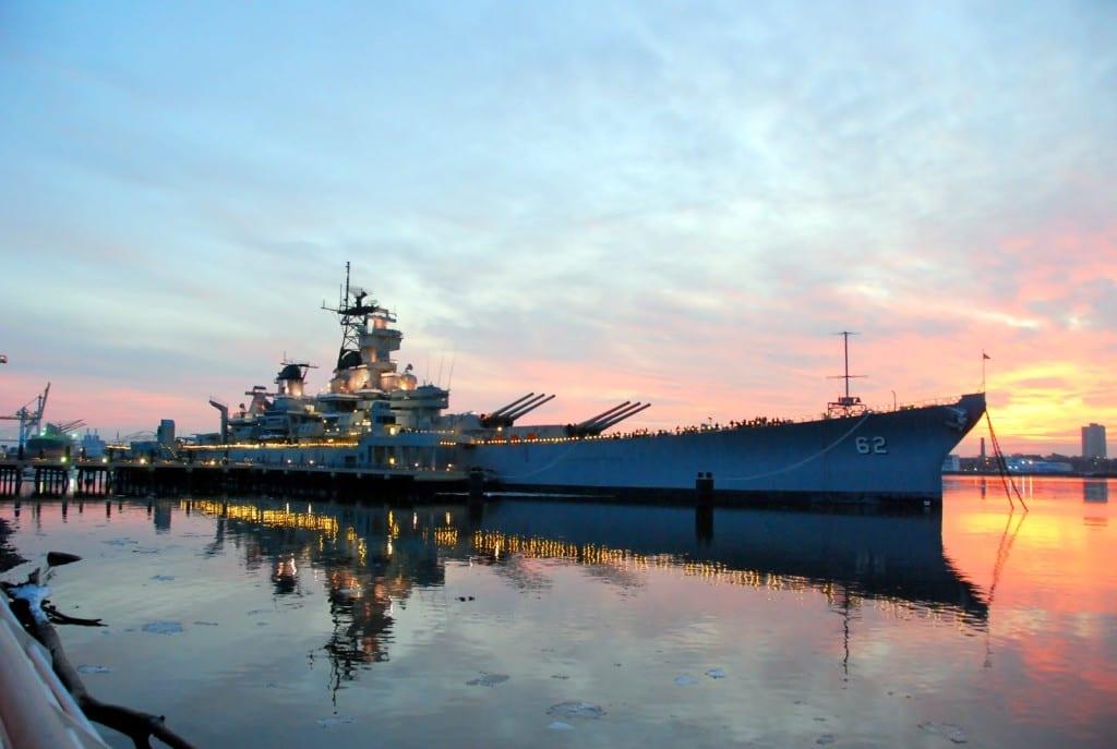 NY Fireworks ship at dusk